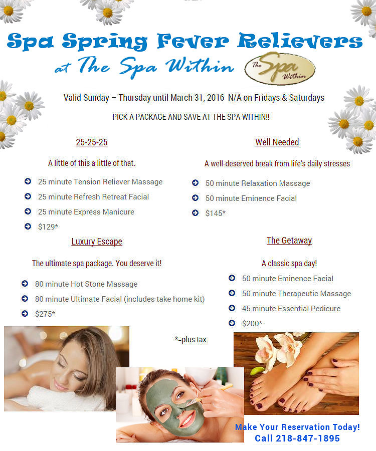 January & February Spa Specials from The Spa Within